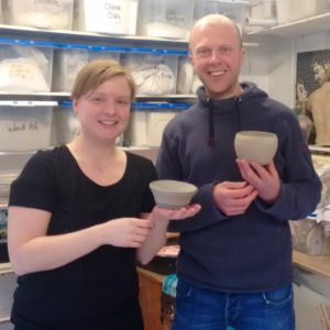 couple after private pottery lessons with Northern Ireland artist McCall Gilfillan