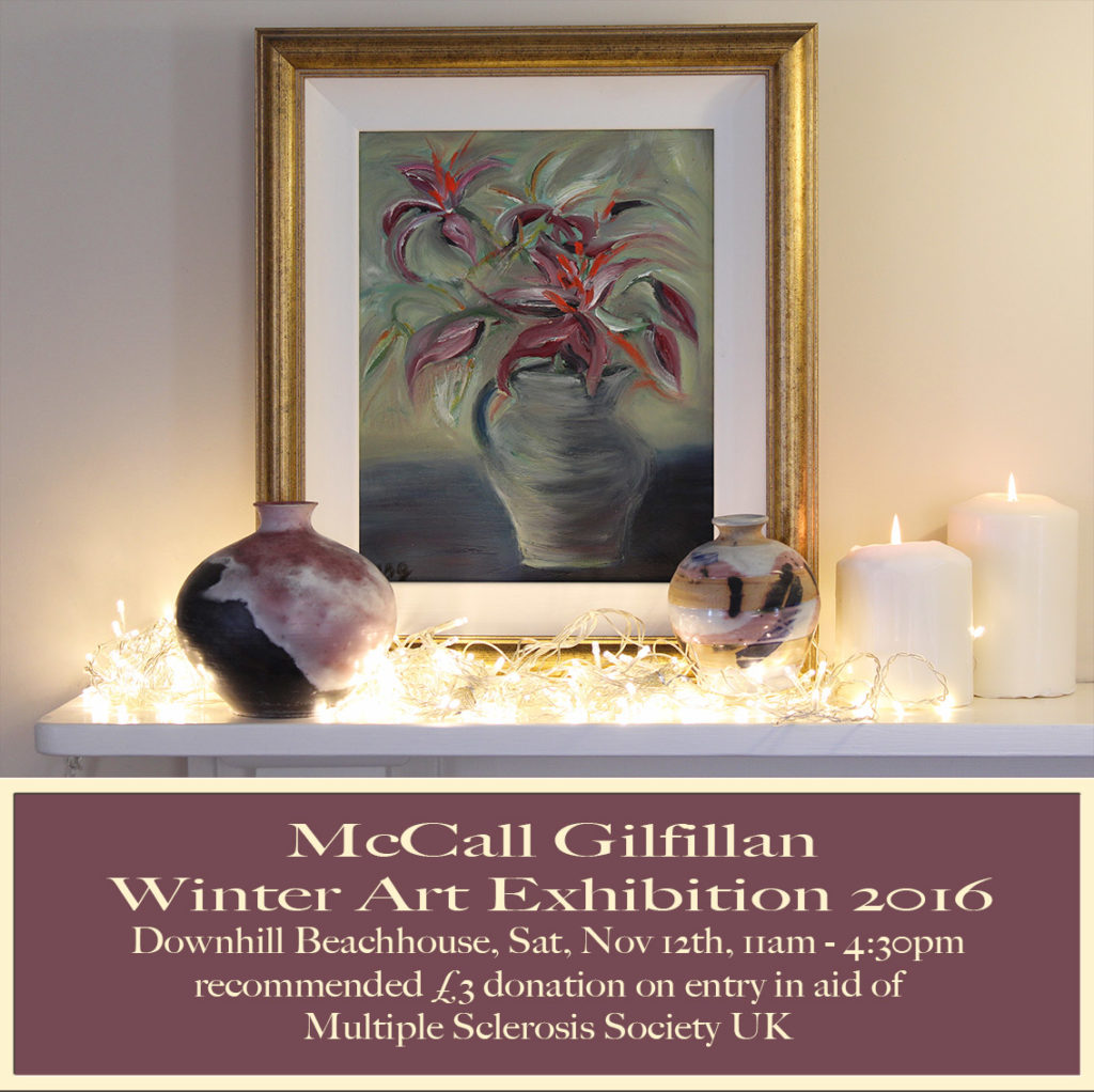 art exhibion of paintings ceramics and glasswork by artist Northern Irish artist McCall Gilfillan