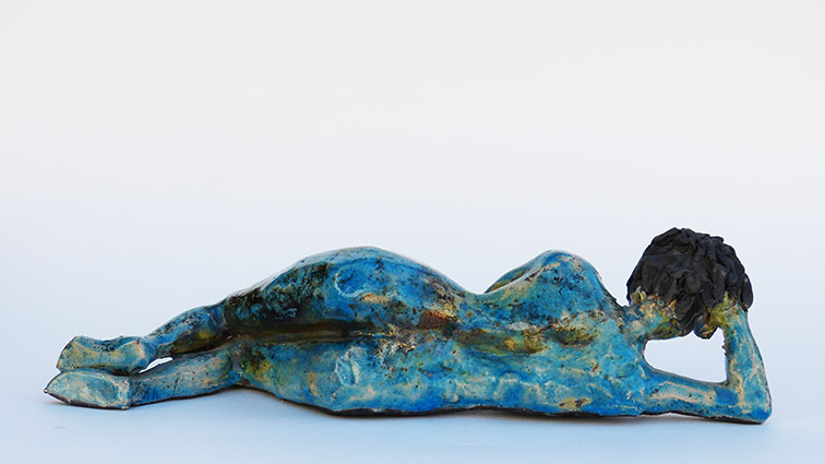 Figurative sculptural raku ceramics by Irish artist McCall Gilfillan back view