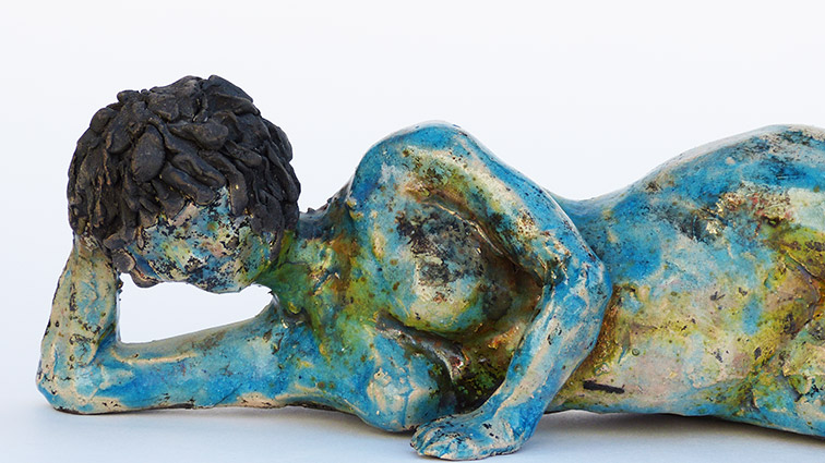 Figurative sculptural raku ceramics by Irish artist McCall Gilfillan detail front